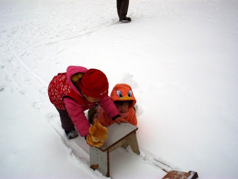 两小孩子推雪撬。