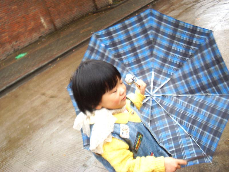 一阵北风吹翻了聪儿的伞.
