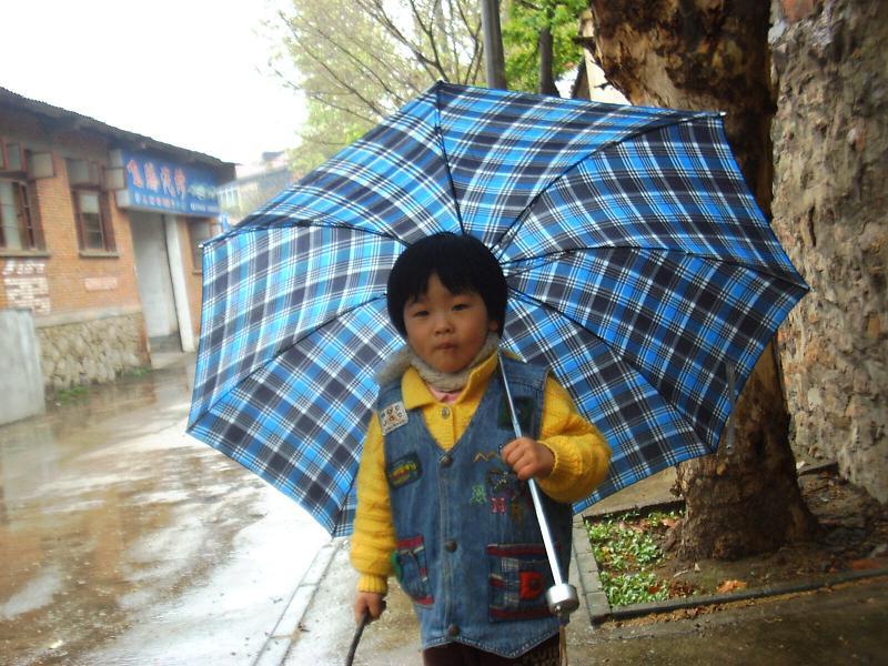 雨幕下的蓝色雨伞...
