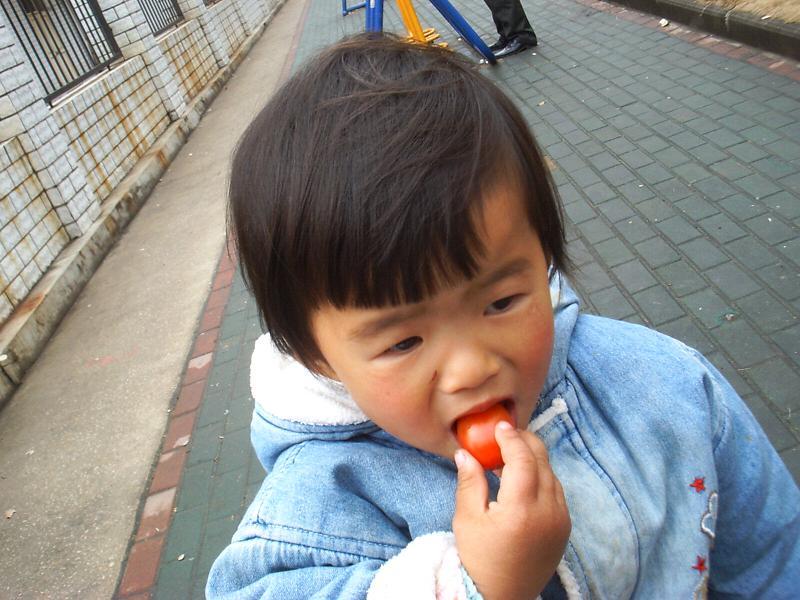 两个小蕃茄,贝儿一个,爷爷一个...