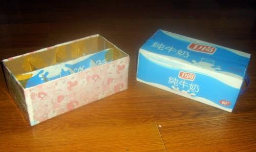 废物利用 牛奶箱变收纳盒