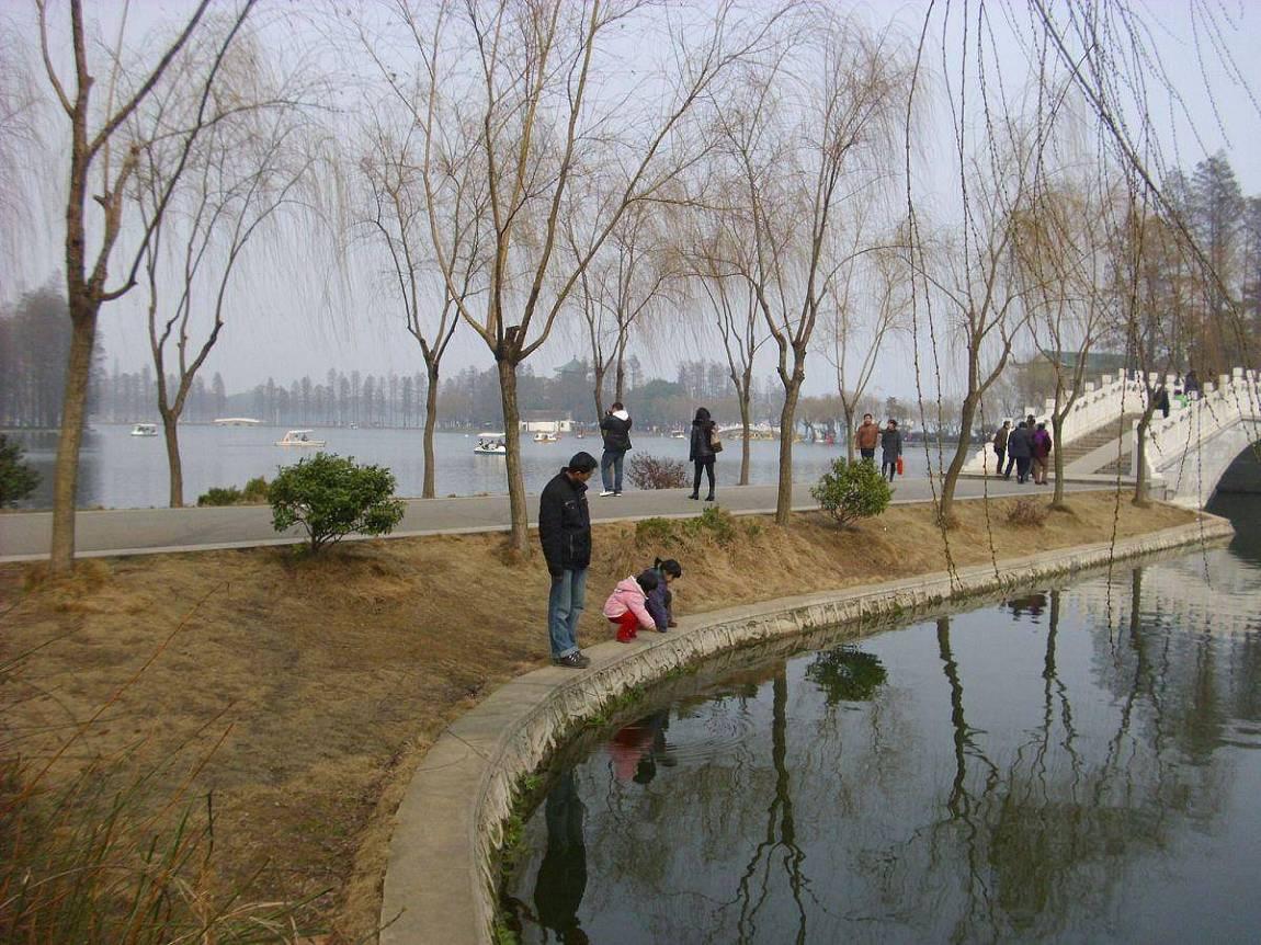 在风景秀丽的东湖...