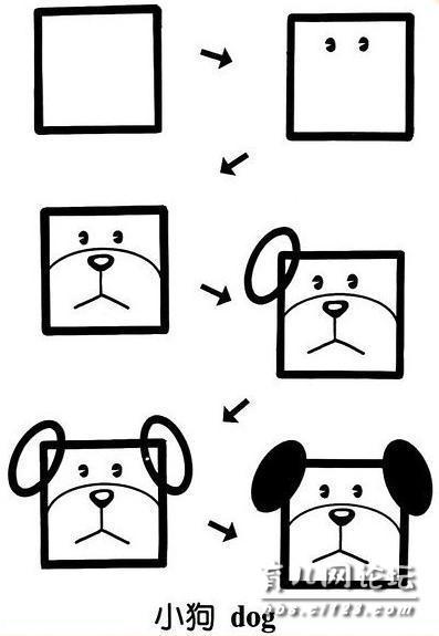 小猫和小狗 这个小猫跟小狗的画法跟平时的简笔画不