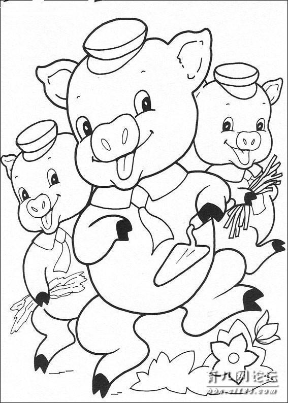 幼儿简笔画涂色——三只小猪版本