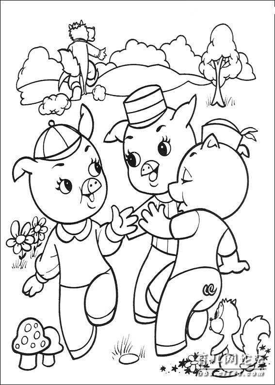 幼儿简笔画涂色 三只小猪版本
