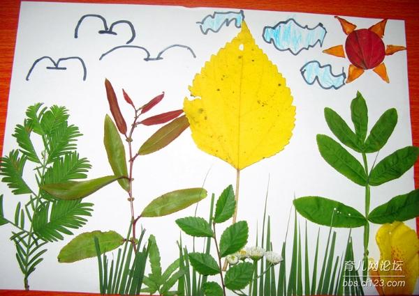 多彩树叶画+【亲子手工第7课】 - 幼儿园论坛-树叶儿童手工作品图片